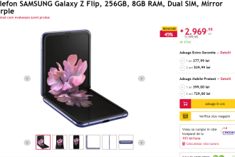 45% reducere la Telefon Samsung Galaxy Z Flip. Reduceri uriașe la telefoane la eMAG