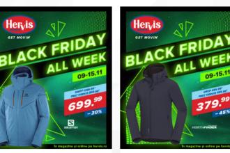 Hervis Black Friday. Reduceri de până la 70% la articolele de îmbrăcăminte și accesorii sport