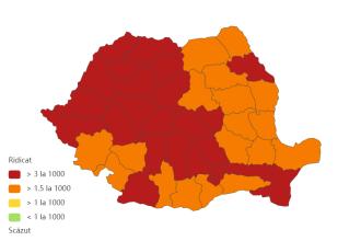Județele cu cel mai mare număr de infectări cu COVID-19. Sibiul are o incidență de 9 la mie