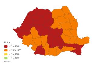 Județele cu cele mai multe cazuri de COVID-19. Clujul ajunge la o incidență de 7,64 la mie