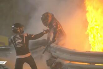 VIDEO. Accident teribil într-o cursă de F1. Romain Grosjean s-a izbit cu monopostul de un parapet