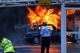 Primele imagini cu atentatele teroriste esuate de pe aeroportul Glasgow
