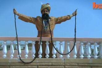 Cum arata barbatul cu cea mai lunga mustata din lume. Este lunga de 4.2 metri. VIDEO