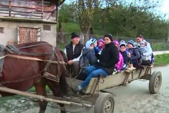 Satul din Romania unde copiii sunt dusi la scoala cu caruta, in loc de microbuz.