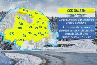 COD GALBEN de frig si ploi in aproape toata tara si ninsori la munte, pana vineri. HARTA zonelor afectate
