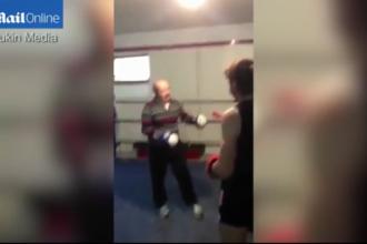 Momentul in care un boxer profesionist este darmat dintr-un pumn de un batran. VIDEO