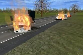 ANIMATIE GRAFICA. Momentul in care un TIR intra pe contrasens si loveste doua masini. Trei morti: un barbat a ars de viu