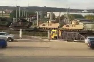 Transport de tancuri pe calea ferata. Imaginile surprinse de un utilizator Stirile ProTV. VIDEO