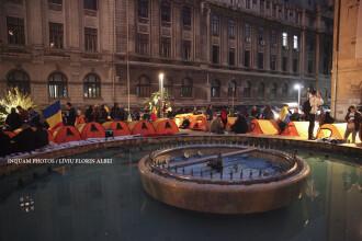 Ciocnire intre manifestanti si jandarmi la un mars unionist din Capitala. Protestatarii au pus corturi in Piata Universitatii