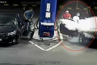 Un bulgar care fuma în benzinărie s-a trezit că i se stinge ţigara cu extinctorul