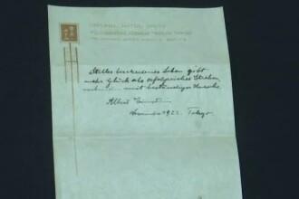 """Biletul care conține """"teoria fericirii"""" a lui Einstein, vândut pentru 1.5 milioane de dolari"""