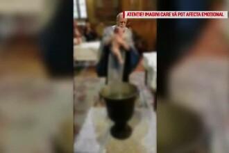 Imagini controversate filmate la un botez: preotul se enervează și bruschează bebelușul