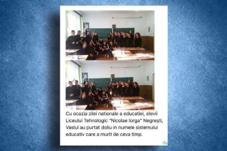 """Şcoli închise de Ziua Educaţiei. Elevi din Vaslui au purtat doliu """"comemorând"""" moartea sistemului"""