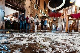 Roma, acoperită duminică seara de grindină după o furtună