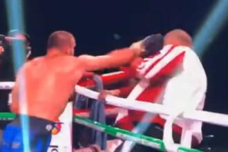 Momentul în care un boxer își ia la bătaie propriul antrenor la finalul unui meci. VIDEO