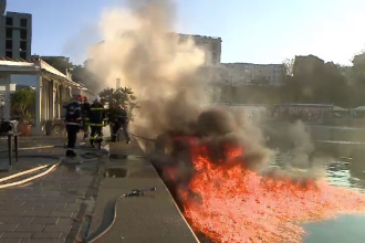 Un incendiu în portul Tomis a provocat panică printre turiști