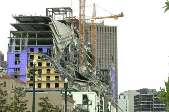 Momentul în care un hotel în construcție se prăbușește. O persoană a murit VIDEO