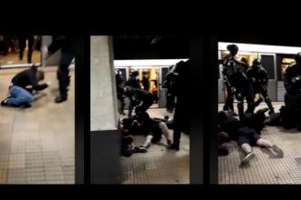 Violență extremă la metrou. Jandarmii au încătușat mai mulți suporteri steliști agresivi