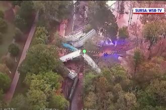 Un marfar cu 170 de mașini și trei locomotive a deraiat în SUA. Zeci de vehicule au luat foc