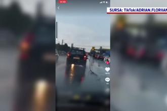 Imagini inedite în Pitești. Un șofer a plecat din benzinărie cu tot cu furtunul de alimentare