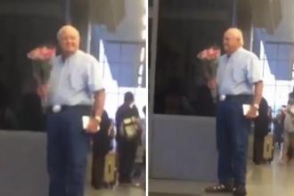 Aceste imagini au cucerit milioane de oameni. Momentul in care un batran emotionat isi asteapta sotia pe aeroport, cu flori