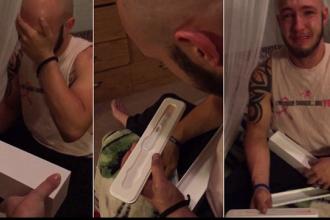 Reactia unui barbat care a primit de la sotie un test de sarcina pozitiv, deghizat intr-o cutie de Apple Watch. VIDEO
