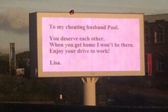 A aflat ca sotul are o amanta, iar modul in care l-a anuntat ca il paraseste e genial. Mii de soferi au vazut mesajul