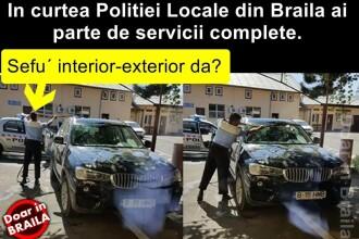 Ancheta interna la Politia Locala Braila. Un politist, pozat in timp ce spala masina care apartine directorului adjunct