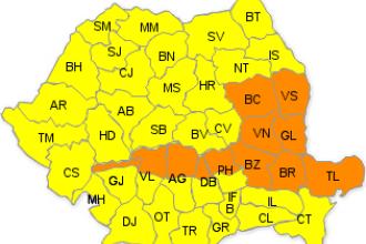Coduri portocaliu si galben de ploi, vant si grindina in TOATA tara, pana marti seara. Prognoza meteo pana joi