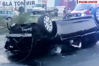 """Noi detalii despre accidentul produs în Iași de un șofer care a """"zburat"""" peste parapet"""