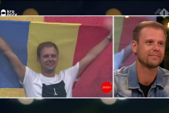 """Armin van Buuren, cu steagul României, la o emisiune, în Olanda: """"Am trăit emoții incredibile acolo"""""""