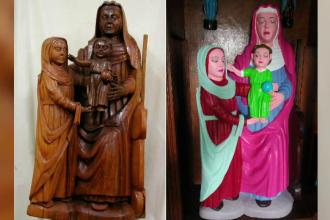 Restaurare eșuată, într-o biserică istorică. Fecioara Maria, colorată în roz ţipător