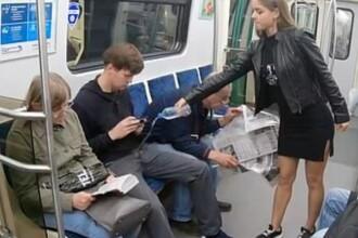 O femeie le toarnă apă cu clor între picioare bărbaților la metrou. Explicația pentru gestul ei. VIDEO