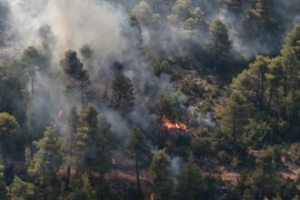 Pompierii se luptă să stingă un puternic incendiu de pădure izbucnit lângă Atena