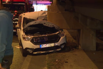 Cetățean slovac, la un pas de moarte în pasajul Obor. S-a oprit cu mașina într-un stâlp