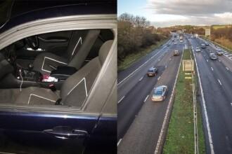 O femeie a căzut din mașină pe autostradă. Ieșise pe geam să filmeze