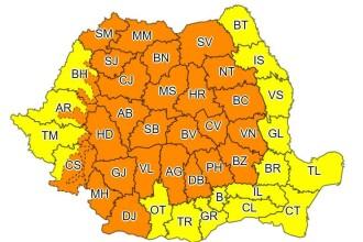 Cod galben și portocaliu de vijelii puternice în toată țara. Temperaturile scad drastic