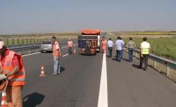 Focuri de arma pe autostrada Arad-Timisoara. Mai multi hoti de carburant au fost prinsi si retinuti