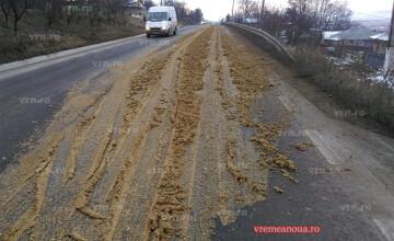 Accident urât mirositor, în Vaslui. O cantitate importantă de bălegar a blocat circulația