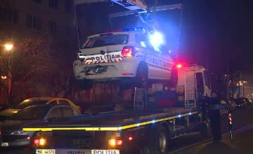 Mașină de poliție, implicată într-un accident pe o stradă din Capitală