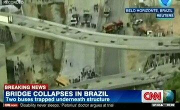 Un pod rutier s-a prabusit peste o sosea aglomerata din Belo Horizonte, oras gazda al Campionatului Mondial de Fotbal