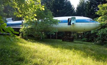 A transformat un avion Boeing 727 intr-o casa de vis. Toti au vrut sa vada interiorul