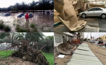 Inundatii puternice in Emiratele Arabe Unite. Ploile torentiale au inchis scolile si au blocat traficul aerian