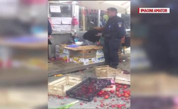 Controale cu scandal intr-o piata din Constanta. Un vanzator a aruncat toate legumele pe jos si a amenintat cu moartea