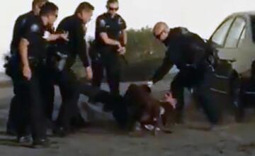 Un caine politist il sfasia, in timp ce agentii il loveau cu bastoanele. Ce acuzatii i s-au adus barbatului incatusat. VIDEO