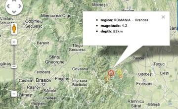 Cutremur cu magnitudinea de 4,2 grade pe scara Richter, inregistrat luni seara in zona Vrancea