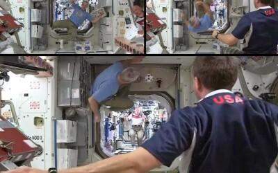 Astronautii de pe orbita au jucat fotbal in Spatiu pentru a marca debutul Cupei Mondiale: VIDEO