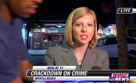 Transmitea LIVE de la locul crimei. In mijlocul interventiei, jurnalista a tras spaima vietii ei