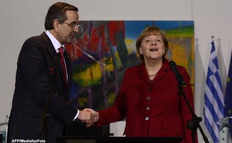 Premierul Antonis Samaras si cancelarul Angela Merkel