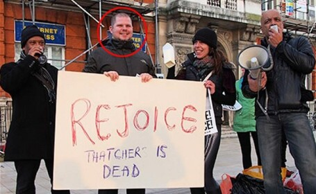 protest, deces Margaret Thatcher